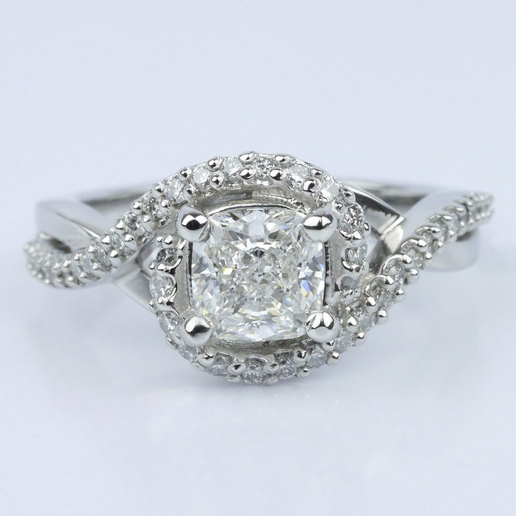 Twisted Split Shank and Swirl Halo Diamond Ring