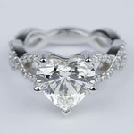 Twisted Split Shank Engagement Ring with Heart Diamond (3 carat) - small