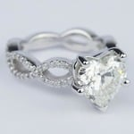 Twisted Split Shank Engagement Ring with Heart Diamond (3 carat) - small angle 3