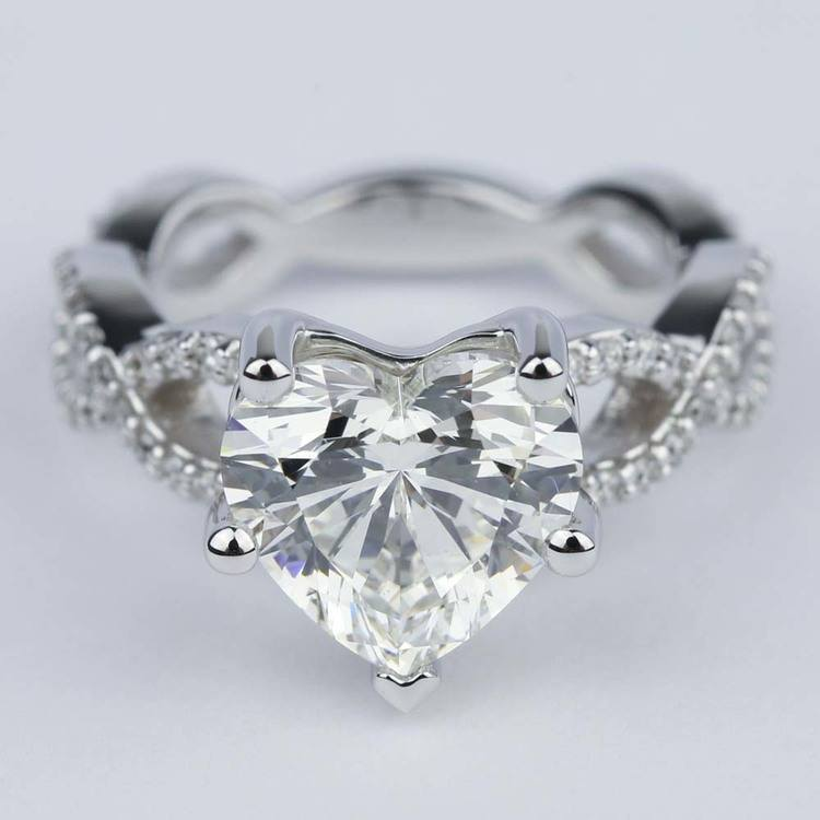 Twisted Split Shank Engagement Ring With Heart Diamond 3
