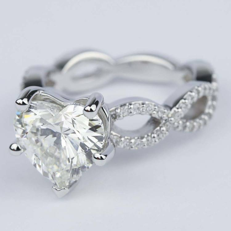Twisted Split Shank Engagement Ring with Heart Diamond (3 carat) angle 2