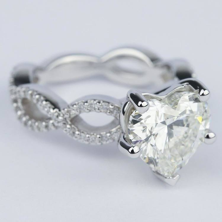 Twisted Split Shank Engagement Ring with Heart Diamond (3 carat) angle 3