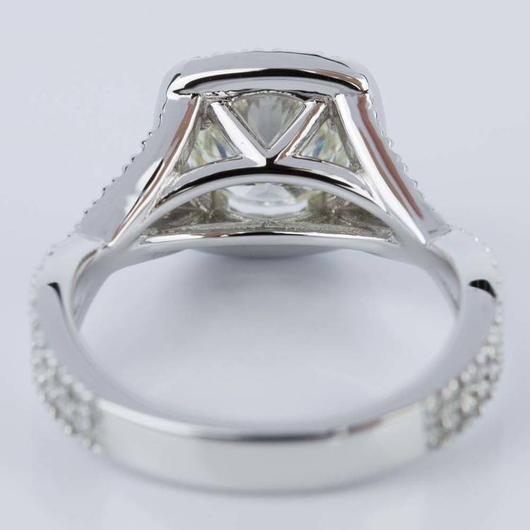 Twisted Split Shank Halo Diamond Engagement Ring in White Gold (1.20 ct.) angle 4
