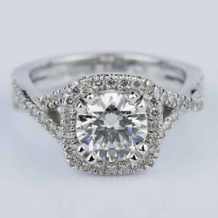 Twisted Split Shank Halo Diamond Engagement Ring in White Gold (1.20 ct.)