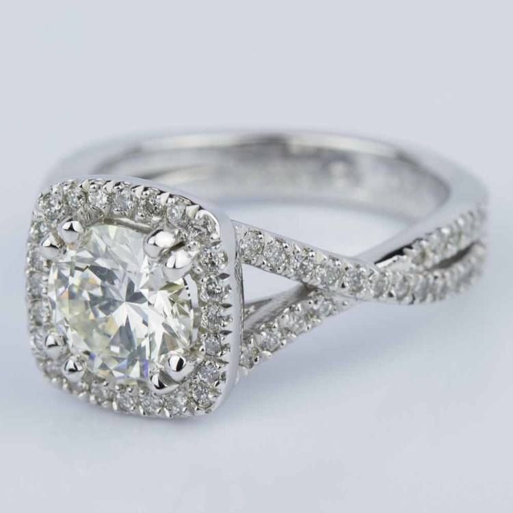 Twisted Split Shank Halo Diamond Engagement Ring in White Gold (1.20 ct.) angle 2