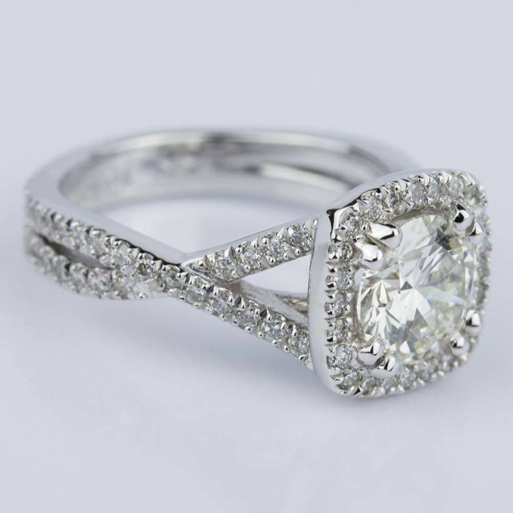 Twisted Split Shank Halo Diamond Engagement Ring in White Gold (1.20 ct.) angle 3