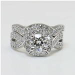 Twisted Halo Diamond Engagement Ring with Matching Band - small