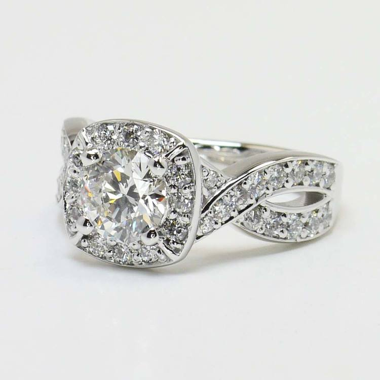 Twisted Halo Diamond Engagement Ring with Matching Band angle 4