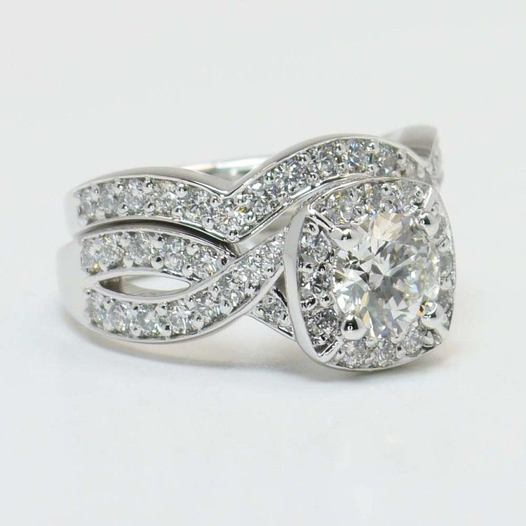 Twisted Halo Diamond Engagement Ring with Matching Band angle 3