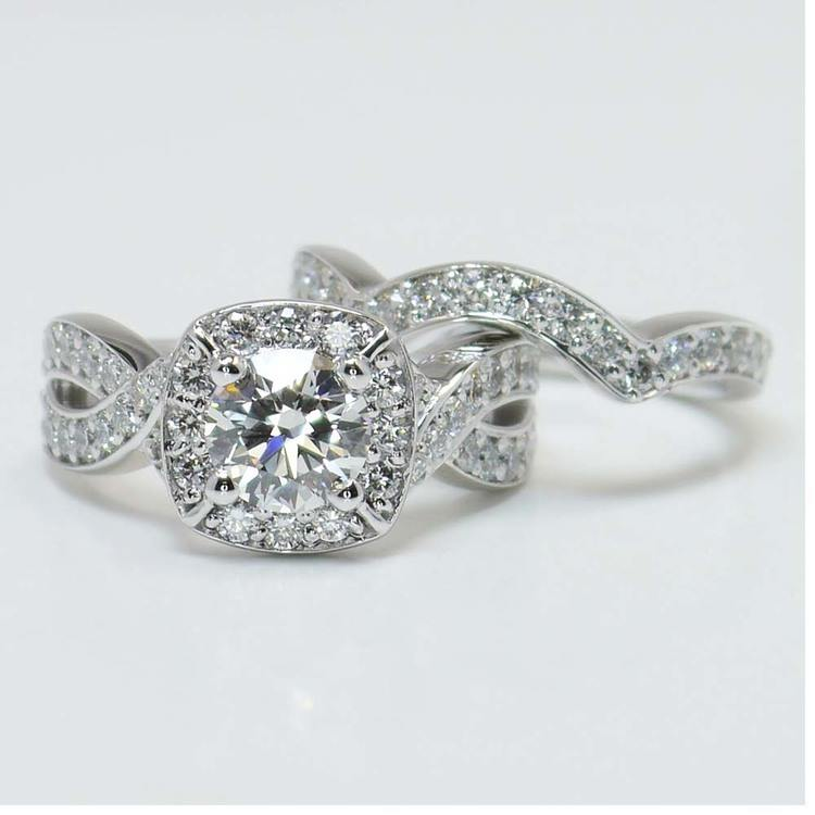 Twisted Halo Diamond Engagement Ring with Matching Band angle 2
