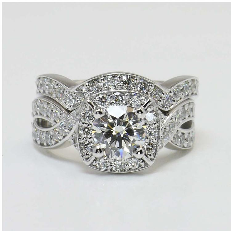 Twisted Halo Diamond Engagement Ring with Matching Band