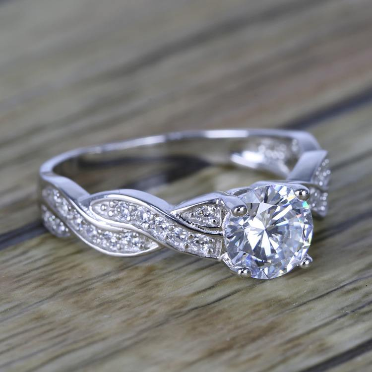 Twisted Split Shank Pave Diamond Engagement Ring (0.90 ct.) angle 3