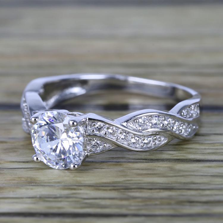 Twisted Split Shank Pave Diamond Engagement Ring (0.90 ct.) angle 2