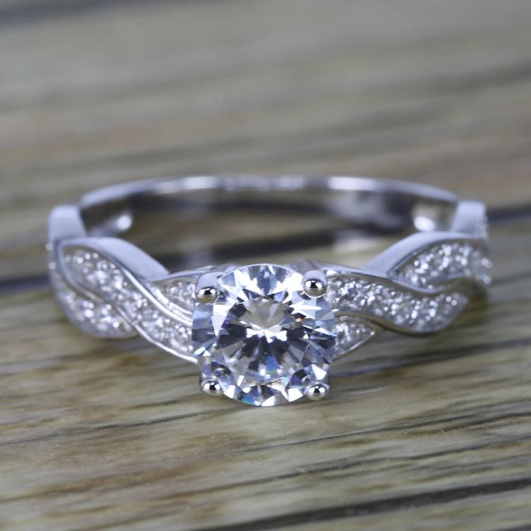 Twisted Split Shank Pave Diamond Engagement Ring (0.90 ct.)