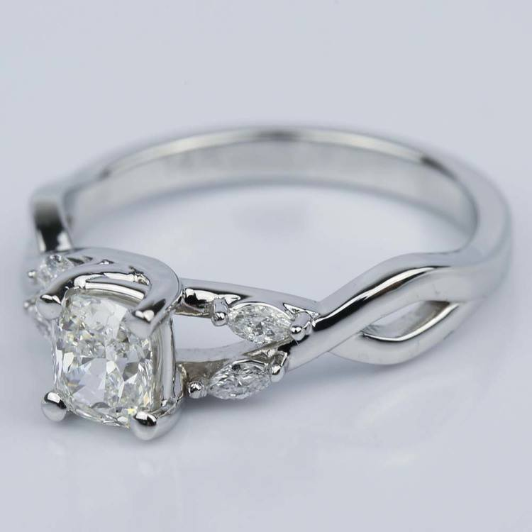 Twisted Vine Cushion Diamond Engagement Ring 0 73 Ct