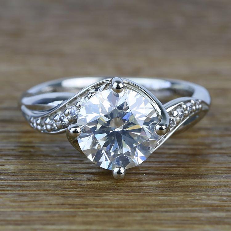 Twisted Vintage 1.90 Carat Round Loose Diamond Engagement Ring