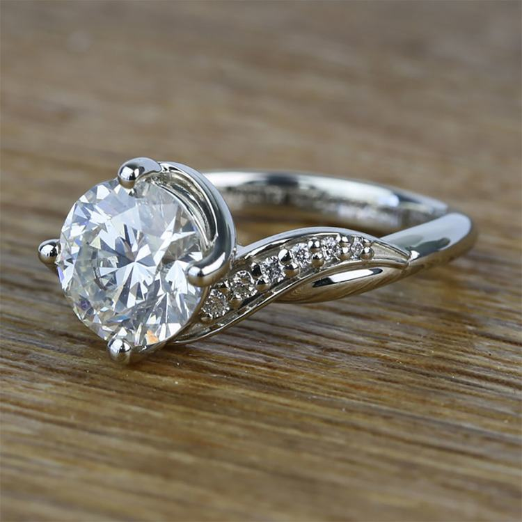 Twisted Vintage 1.90 Carat Round Loose Diamond Engagement Ring  angle 2