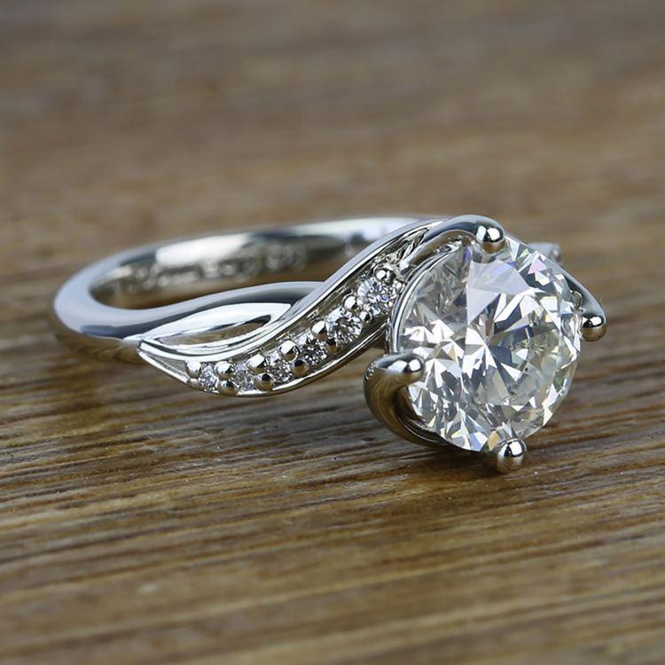 Twisted Vintage 1.90 Carat Round Loose Diamond Engagement Ring  angle 3