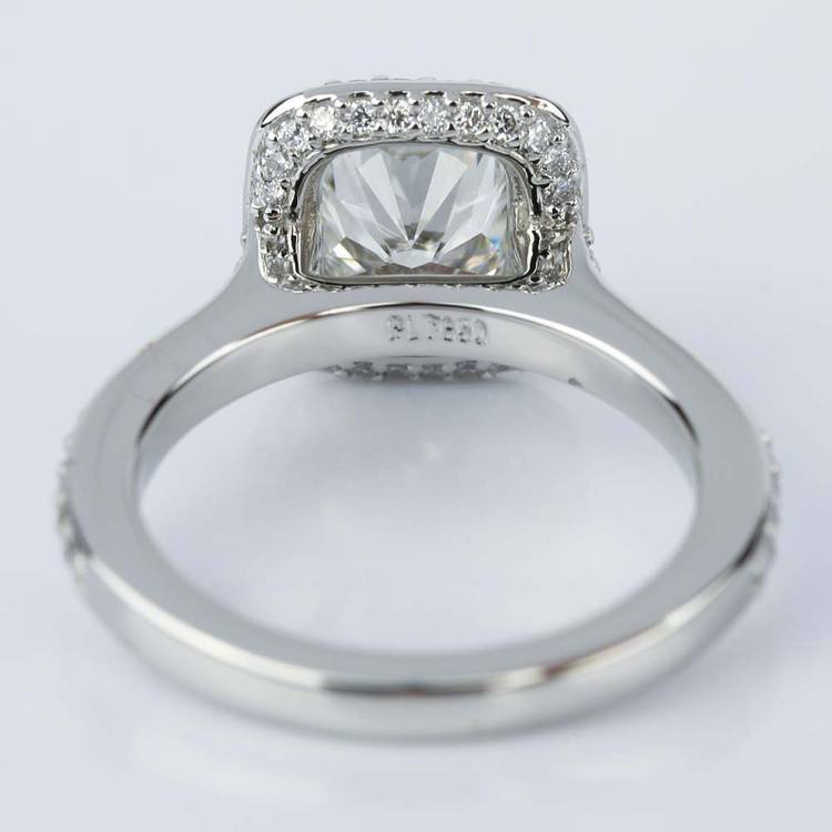 Two-Sided Halo Cushion Diamond Engagement Ring in Platinum (1.50 ct.) angle 4