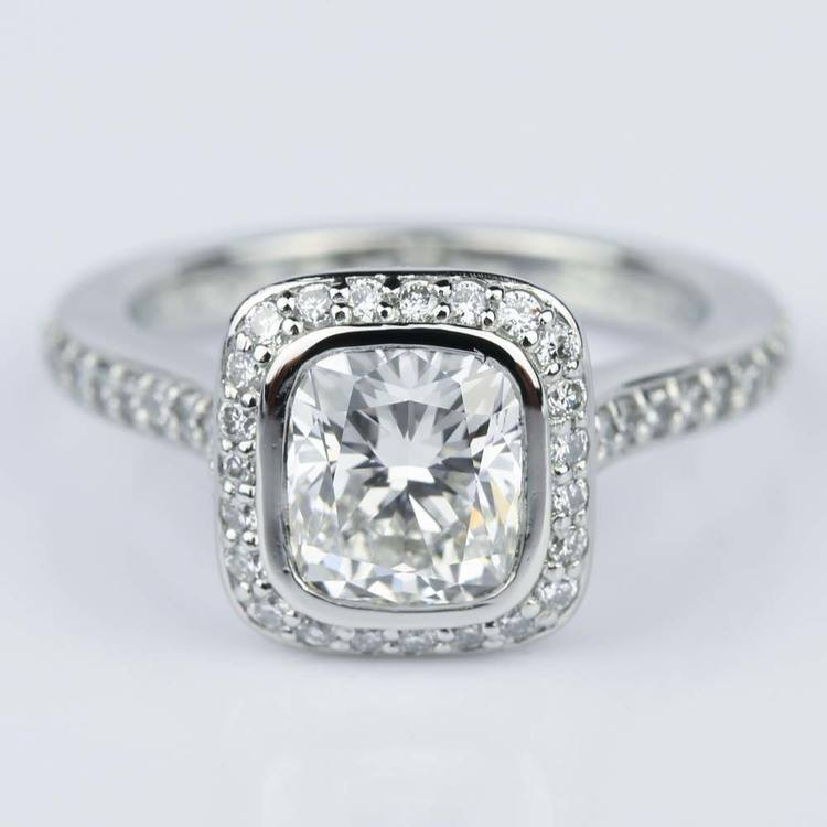Two-Sided Halo Cushion Diamond Engagement Ring in Platinum (1.50 ct.)