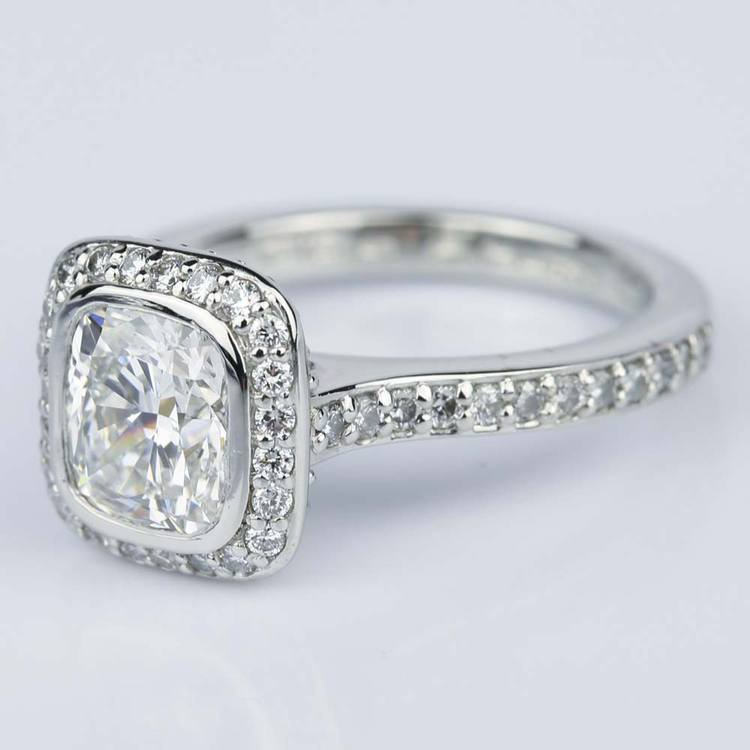 Two-Sided Halo Cushion Diamond Engagement Ring in Platinum (1.50 ct.) angle 2