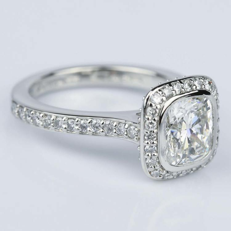 Two-Sided Halo Cushion Diamond Engagement Ring in Platinum (1.50 ct.) angle 3