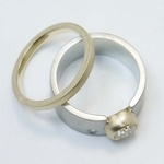 Custom Dual-Tone Diamond Bezel Ring with Matching Band - small angle 4