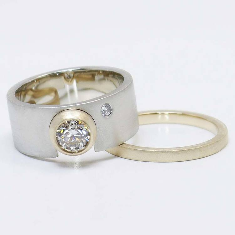 Custom Dual-Tone Diamond Bezel Ring with Matching Band angle 3