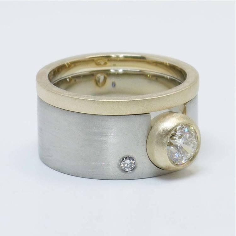 Custom Dual-Tone Diamond Bezel Ring with Matching Band angle 2