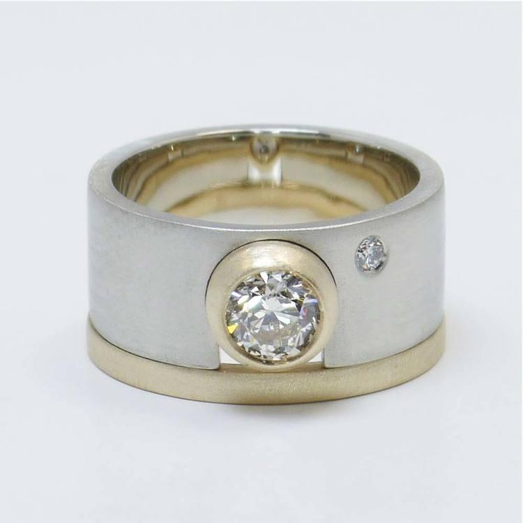 Custom Dual-Tone Diamond Bezel Ring with Matching Band
