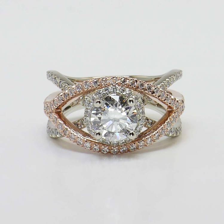 Custom 1 Carat Round Crossover Split Shank Diamond Ring