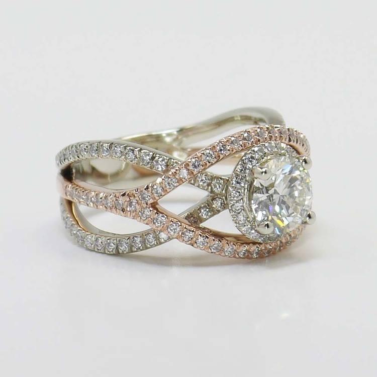 Custom 1 Carat Round Crossover Split Shank Diamond Ring angle 2