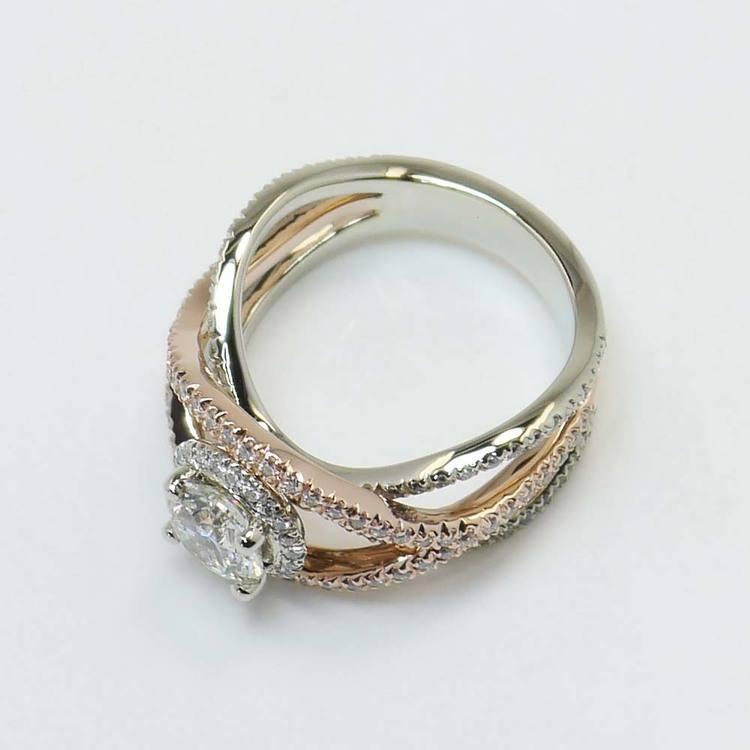 Custom 1 Carat Round Crossover Split Shank Diamond Ring angle 4