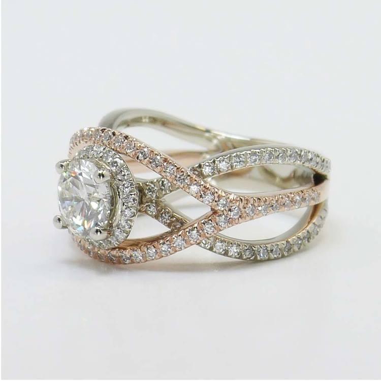 Custom 1 Carat Round Crossover Split Shank Diamond Ring angle 3