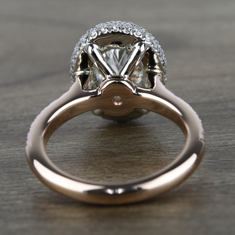 Custom Two-Tone Rose Gold Oval Diamond Engagement Ring angle 4