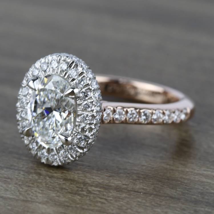 Custom Two-Tone Rose Gold Oval Diamond Engagement Ring angle 2
