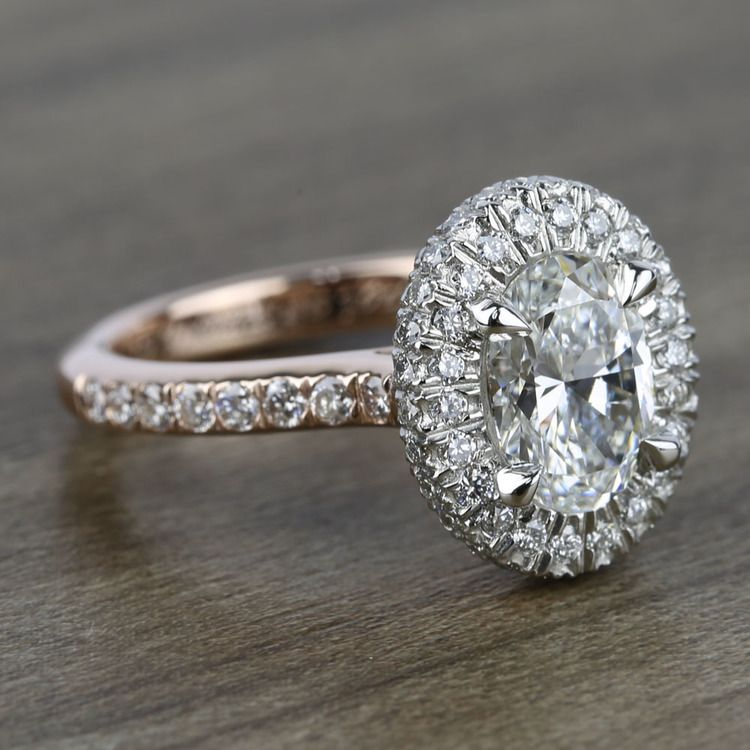 Custom Two-Tone Rose Gold Oval Diamond Engagement Ring angle 3