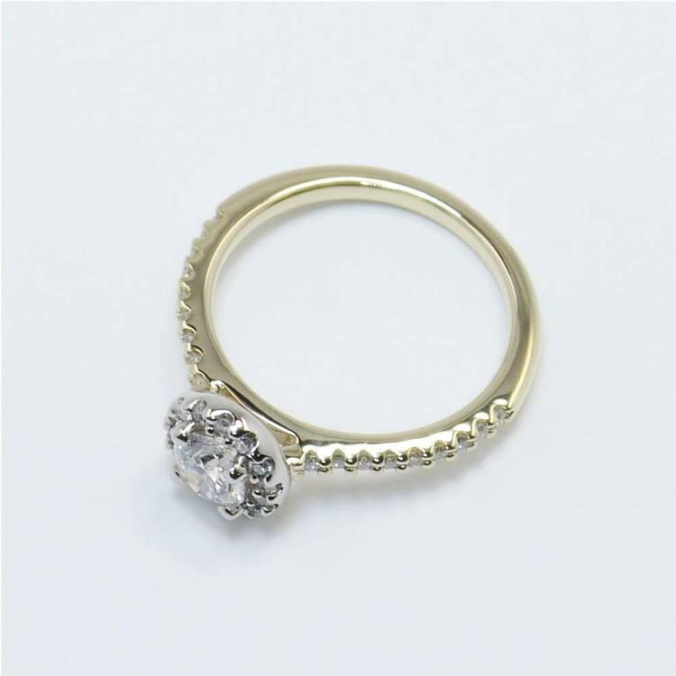 Custom Two-Tone Halo Diamond Ring (Half Carat) angle 4