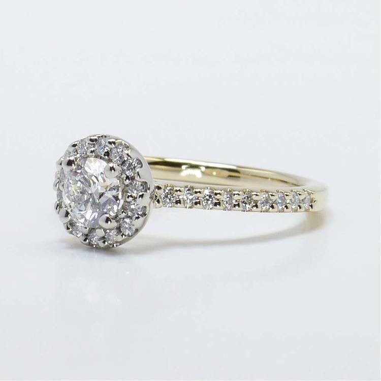 Custom Two-Tone Halo Diamond Ring (Half Carat) angle 2