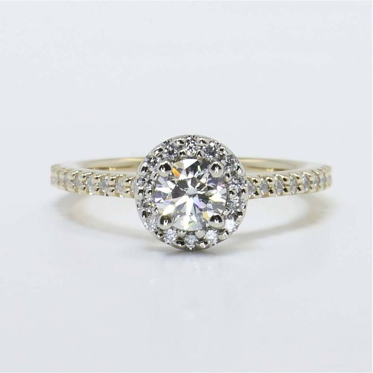 Custom Two-Tone Halo Diamond Ring (Half Carat)