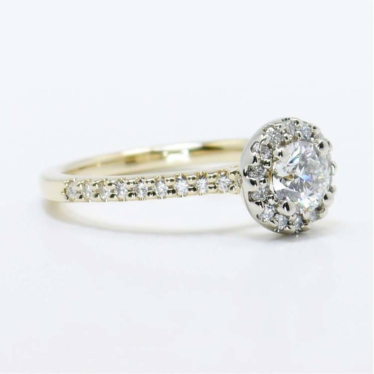 Custom Two-Tone Halo Diamond Ring (Half Carat) angle 3