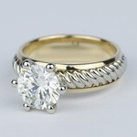 Two-Tone Twisted Rope Diamond Engagement Ring (1.80 Carat) - small angle 2