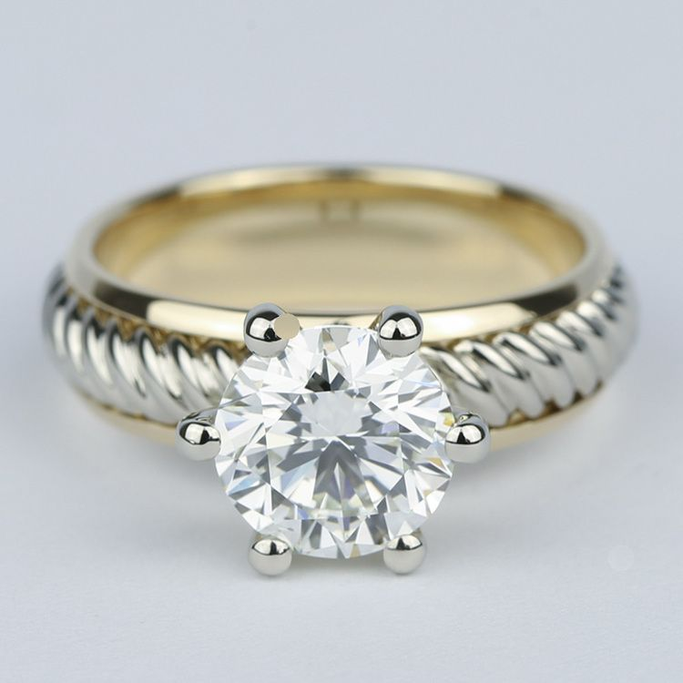 Two-Tone Twisted Rope Diamond Engagement Ring (1.80 Carat)