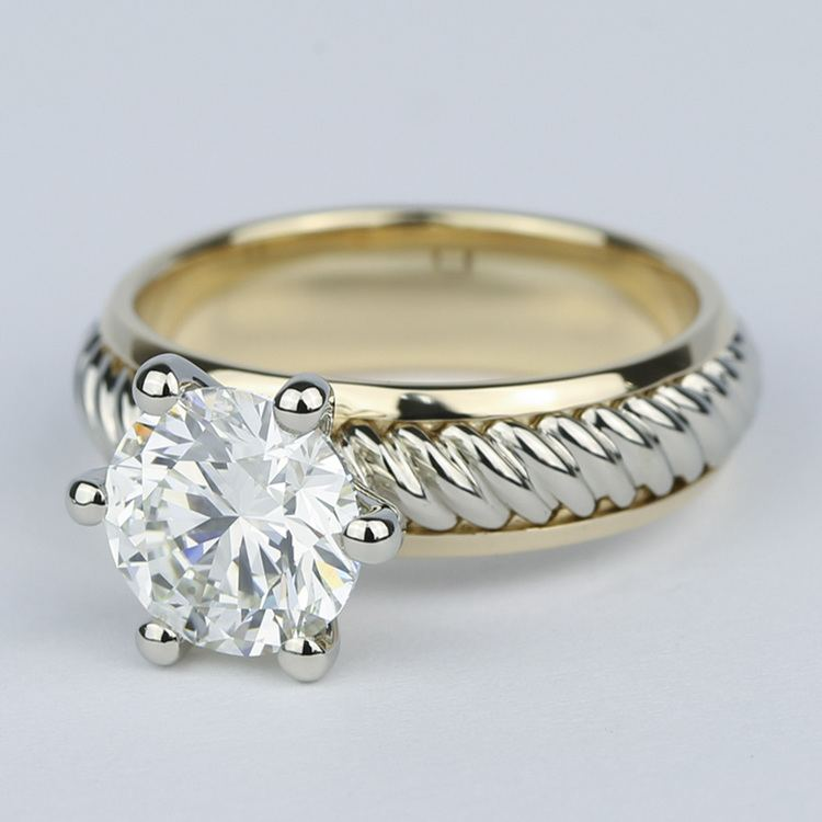 Two-Tone Twisted Rope Diamond Engagement Ring (1.80 Carat) angle 2