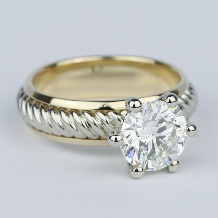 Two-Tone Twisted Rope Diamond Engagement Ring (1.80 Carat) angle 3