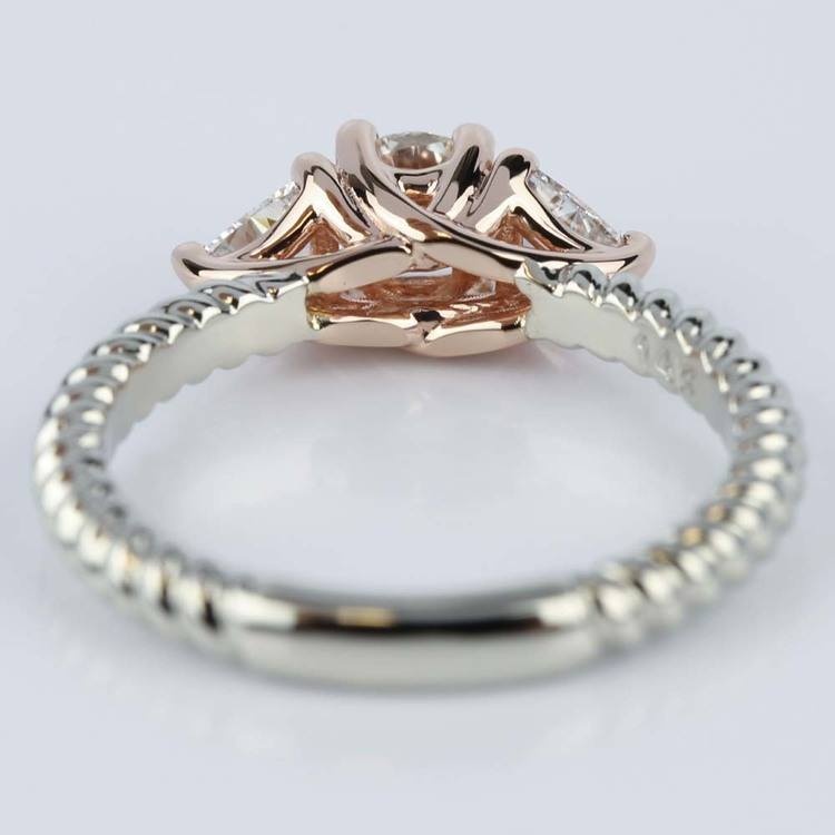 Two Tone Twisted Rope Trillion Diamond Engagement Ring In