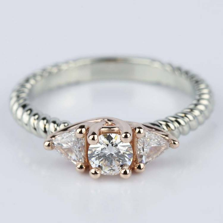 Two-Tone Twisted Rope Trillion Diamond Engagement Ring in White & Rose Gold (0.24 ct.)