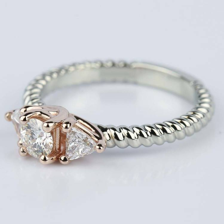 Two-Tone Twisted Rope Trillion Diamond Engagement Ring in White & Rose Gold (0.24 ct.) angle 2