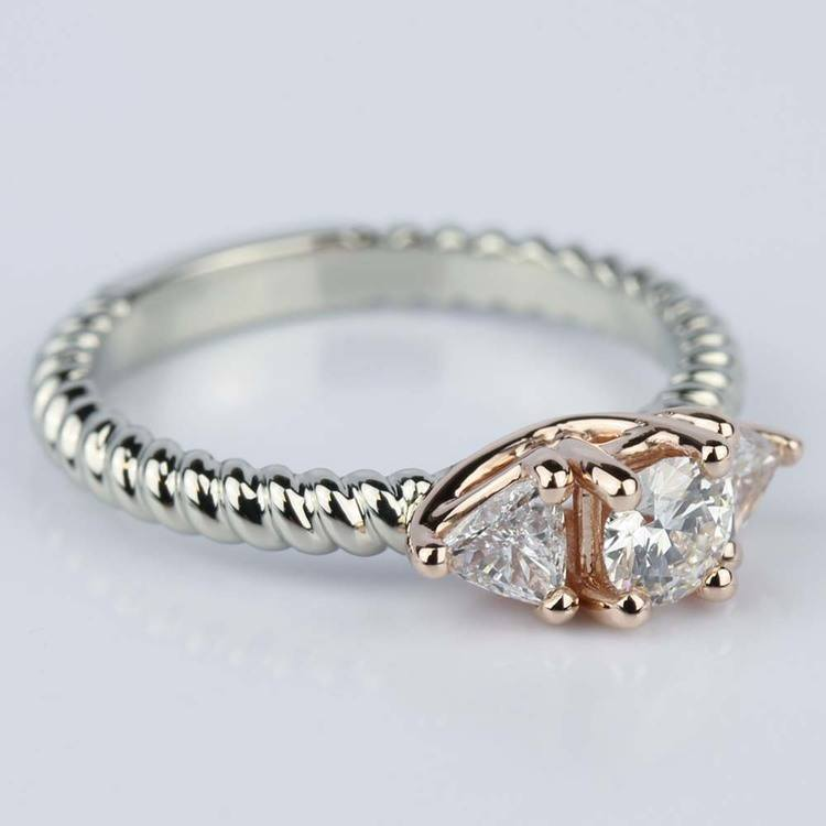 Two-Tone Twisted Rope Trillion Diamond Engagement Ring in White & Rose Gold (0.24 ct.) angle 3
