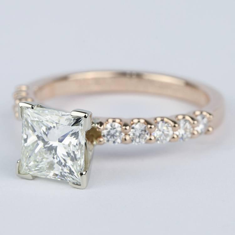 Princess Diamond Engagement Ring with U-Prong Band angle 2